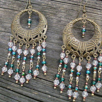 Teal earrings, hoop earrings, gypsy earrings, bronze earrings