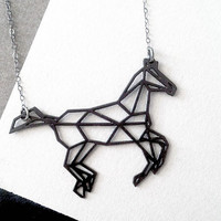 black horse necklace, geometric jewelry, geometric horse