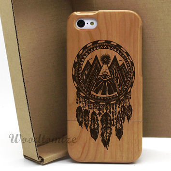 Natural wood dream catcher black color print case, iPhone 4/4s 5/5s 5c real wood case, Samsung s3 s4 s5 note 3 HTC One M8 wood cover - W53