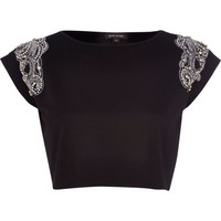 Black faux pearl embellished crop top