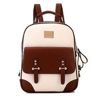 Tinksky® New Arrival Korean Fashion Bag Vintage Backpack College Students Schoolbag (Brown)