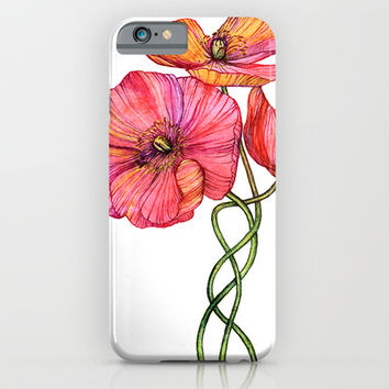 Peach & Pink Poppy Tangle iPhone & iPod Case by micklyn