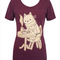 Hey Chickadee - Coffee Shop Cat T-shirt