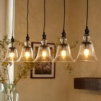 Rustic Glass 5-Light Pendant