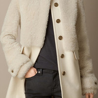 Shearling and Wool Melton Coat