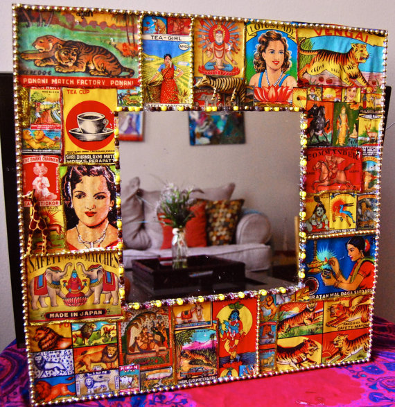 Indian Matchbox Wall Mirror, vintage decor, kitsch art