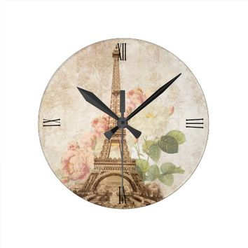 Paris Pink Rose Vintage Romantic Clock