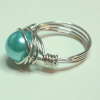 Ice Blue and Silver Wire Wrapped Ring