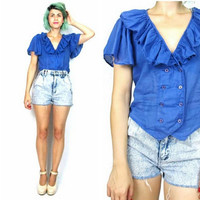 Vintage Ruffle Crop Top Blue Cotton Blouse Flutter Short Sleeves Paper Thin Pirate Steampunk Indie Boho Hipster Shirt (S/M)