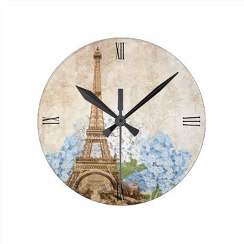 Paris Blue Hydrangea Vintage Romantic Clock