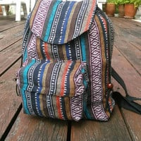 Small Tribal Backpack Boho Ikat Abstract Native Design Ethnic Hippie Aztec Gypsy Handwoven Handmade Tapestry Bohemian bag Purse bags Vintage