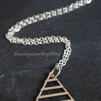Sterling Silver Triangle Necklace, 32 inch Chain, Pyramid Necklace, Long Necklace, Stripes, Geometric Jewelry, Ready To Ship!