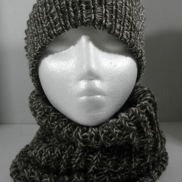 Handmade Slouchy Knit Hat and Neckwarmer Cowl Set, 100% Pure Wool, Fall, Winter Fashion