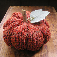 Hand knit pumpkin - fall autumn orange cotton chenille tabletop thanksgiving tablescape table decor primitive rustic woodland