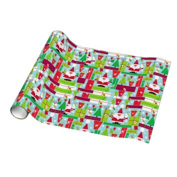 Retro Santa and Presents Christmas Wrapping Paper