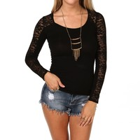 Black Long Sleeve Lace Tee
