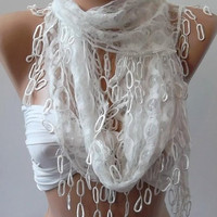 White  lace and Elegance Shawl / Scarf - with Lace Edge,,,,