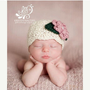 On Sale Baby Hat, Beanie, Crochet, Ecru, Off White, Rose Pink, Baby Girl Hat, Photography Prop, Newborn, Flapper Style