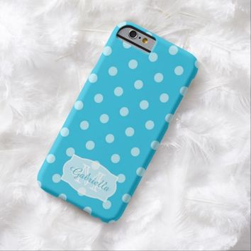 Teal Blue Polka-Dot: Personalized: iPhone 6 case