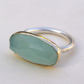 SALE  Recycled Silver and 14k Yellow Gold with blue by chop007
