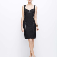 Faux Leather Seamed All-Season Stretch Sheath Dress