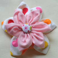 Polka dot Kanzashi double flower pony tail elastic covered button, handmade hair accessories for girls