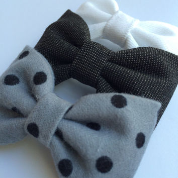 White denim, vintage black board short, and gray with black dot flannel hair bow lot from Seaside Sparrow.  Perfect gift for her.