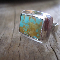 Sterling and Turquoise Ring Handmade by JudithGayleDesigns on Etsy
