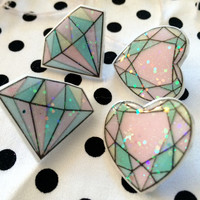 Pastel Acrylic Gem Earrings. Choose from Diamonds or Hearts