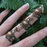 triple armor ring midi ring topaz ring nail claw nail tip knuckle ring elfin goth victorian steampunk goddess pagan witch boho gypsy style