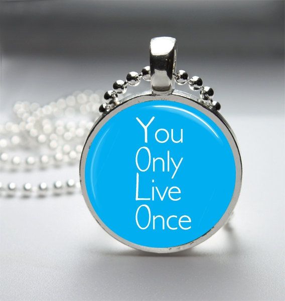 Round Glass Bezel Pendant YOLO You Only Live Once Necklace With Silver Ball Chain (A3797)