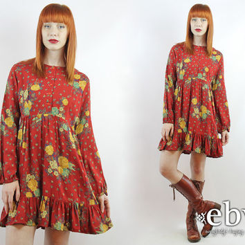 Vintage 70s Deep Red Floral Mini Dress M Red Floral Dress 70s Dress Hippie Dress Hippy Dress Babydoll Dress