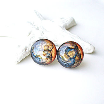 Navy Blue Earring, Stud Earring, Orange Earrings, Post Earring, Stud Earrings, Earring Post, Resin Wooden Jewelry