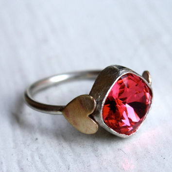 Pink Vintage Swarovski Handmade Sterling Silver ring by luckyduct