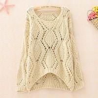 Woman's Hollow Out Round Neck Sweater 090316