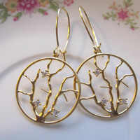 Gold Hoop Earrings with Twigs and Rhinestones on Long Earring Wires - Wedding Jewelry - Everyday Wear - Bridesmaid Gifts