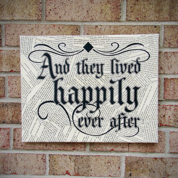 And They Lived Happily Ever After Sign - Quote on Canvas / Canvas Art : Wedding Art/ Wedding/ Engagement/ Bridal Shower/ Anniversary Gift