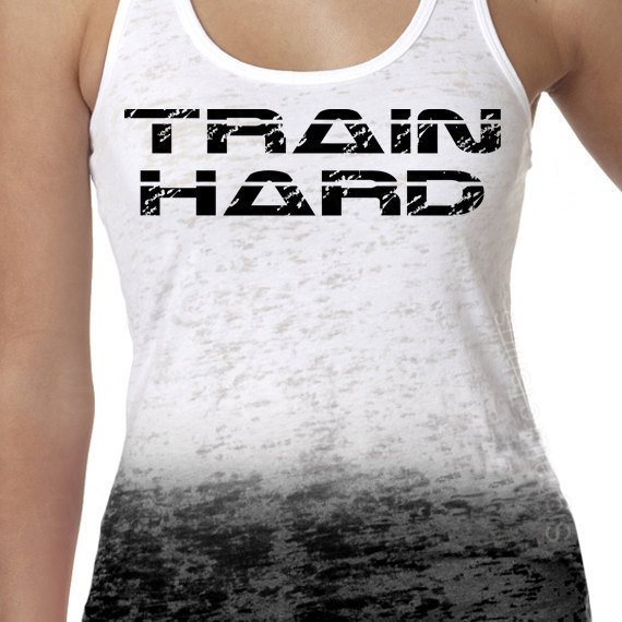 TRAIN HARD A-Line Ombre Burnout Tank Razor Ladies Fitness S - 2XL more colors