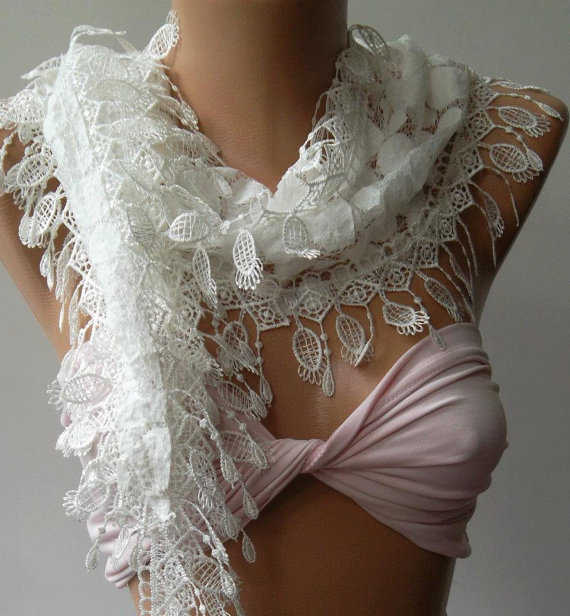 White - Elegance  Shawl / Scarf with Lacy Edge,,,
