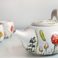 Hand Painted Ceramic Tea Set -  Shrooms and Grass Collection - made to order