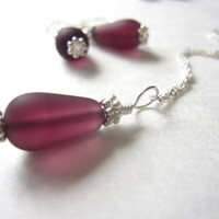 Purple Sea glass beads Bridesmaids necklace - Beach wedding Amethyst Mermaid Jewlery FREE SHIPPING