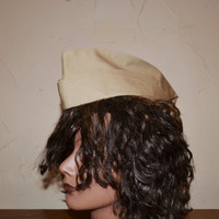 Vintage Garrison Hat Khaki Military Hat Pinup Military Army Naval Officer Wedge Cap Halloween Costume Cosplay Women's Size 20