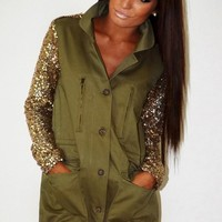 Private Benjamin Light Khaki Sequin Sleeve Coat | Pink Boutique