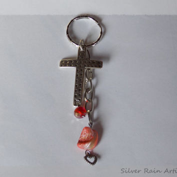 Cross Keychain- Keychain - Keyring - Key Chain Key Ring - Keys accessories - Cross and chain - Silver tone keychain