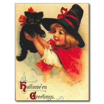 Witch Girl Black Kitten Halloween Postcard