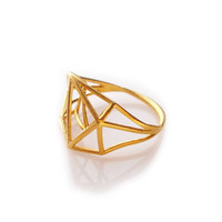 Architectural Structure Geometric Gold Ring