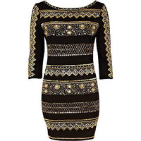 black embellished front bodycon dress
