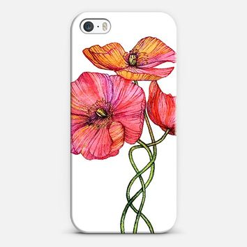 Peach & Pink Poppy Tangle iPhone 5s case by Micklyn Le Feuvre | Casetify