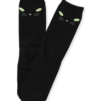 Aeropostale Kitty Face Crew Socks - Black, 9-11