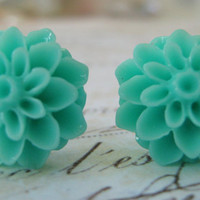 Aqua Turquoise Resin Chrysanthemum Sterling Silver .925 Post Earrings